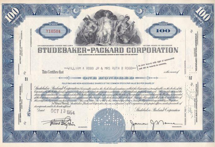 Te koop: Diverse Studebaker en Packard aandelen